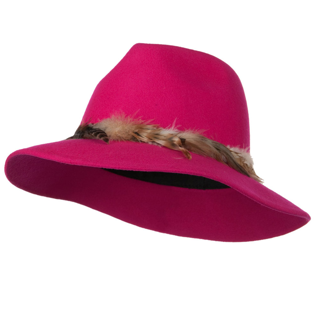 Fedora Hat with Feather Trim - Hot Pink - Hats and Caps Online Shop - Hip Head Gear