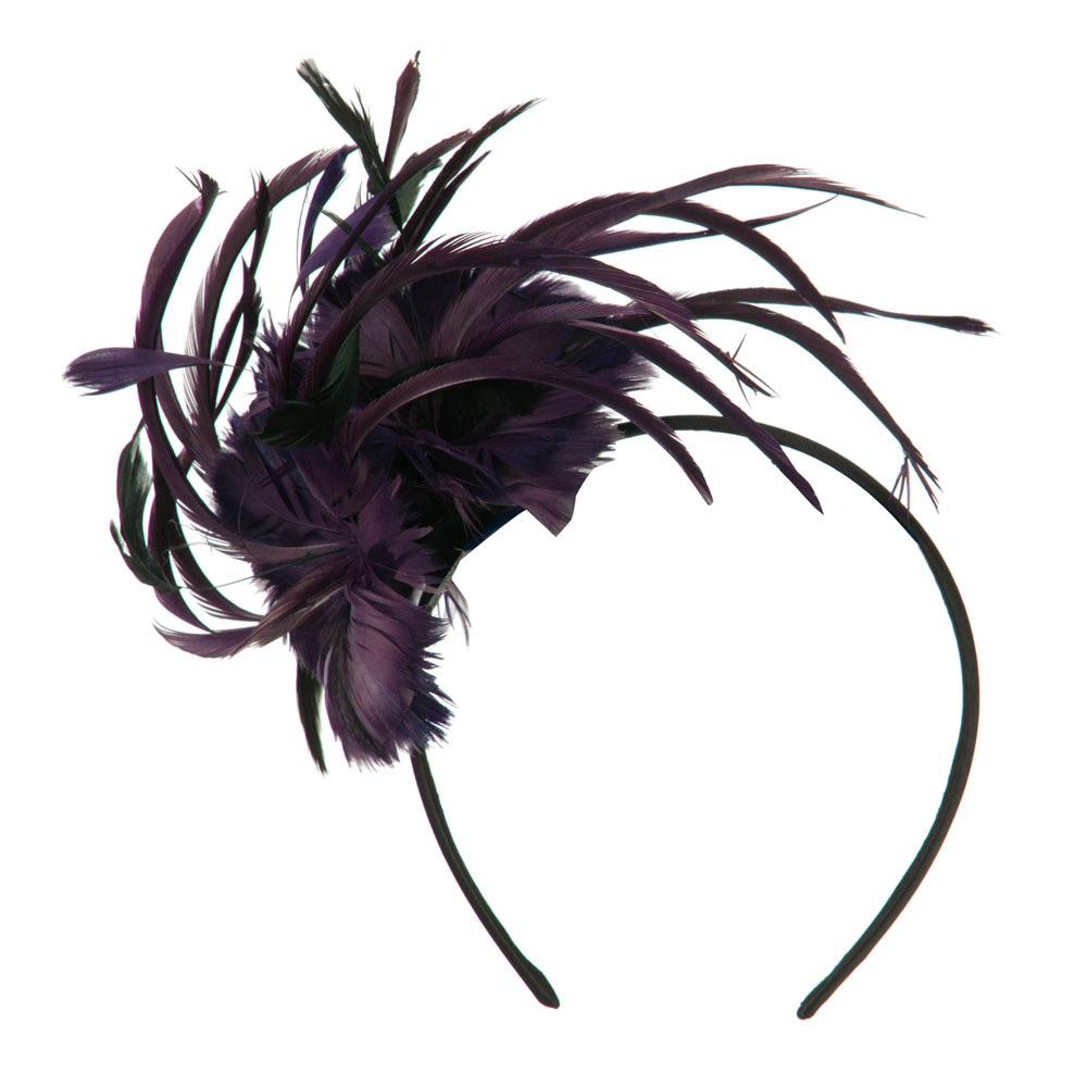 Feather Accent Headband Fascinator - Purple - Hats and Caps Online Shop - Hip Head Gear