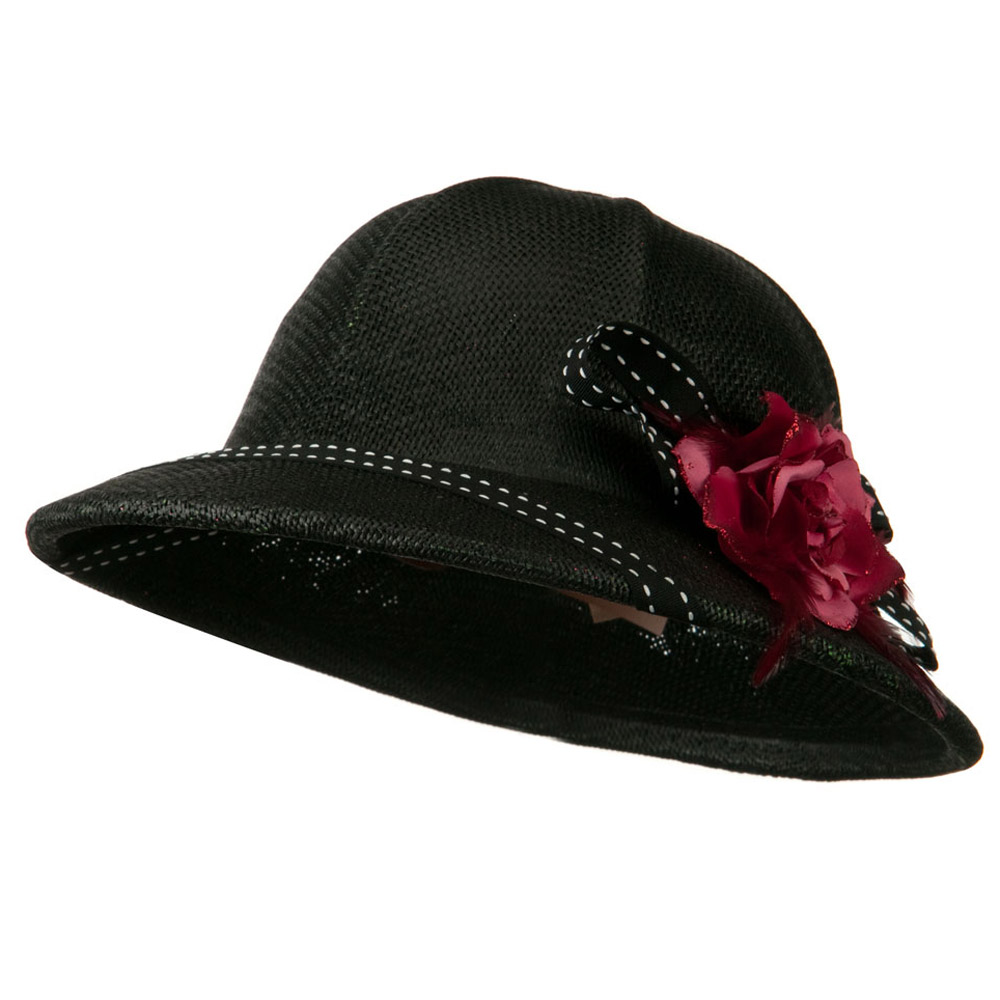 Pith Helmet Twisted Toyo with Flower Ribbon - Black - Hats and Caps Online Shop - Hip Head Gear