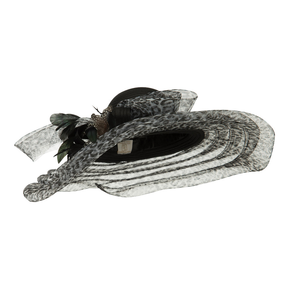 Taffeta Braid Horse Hair Organza Hat - Black White - Hats and Caps Online Shop - Hip Head Gear