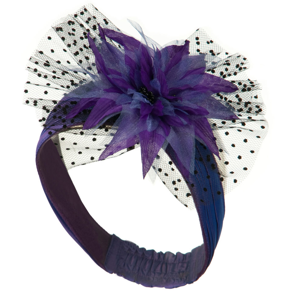 Heandband with Tulle and Flower Trim - Purple - Hats and Caps Online Shop - Hip Head Gear
