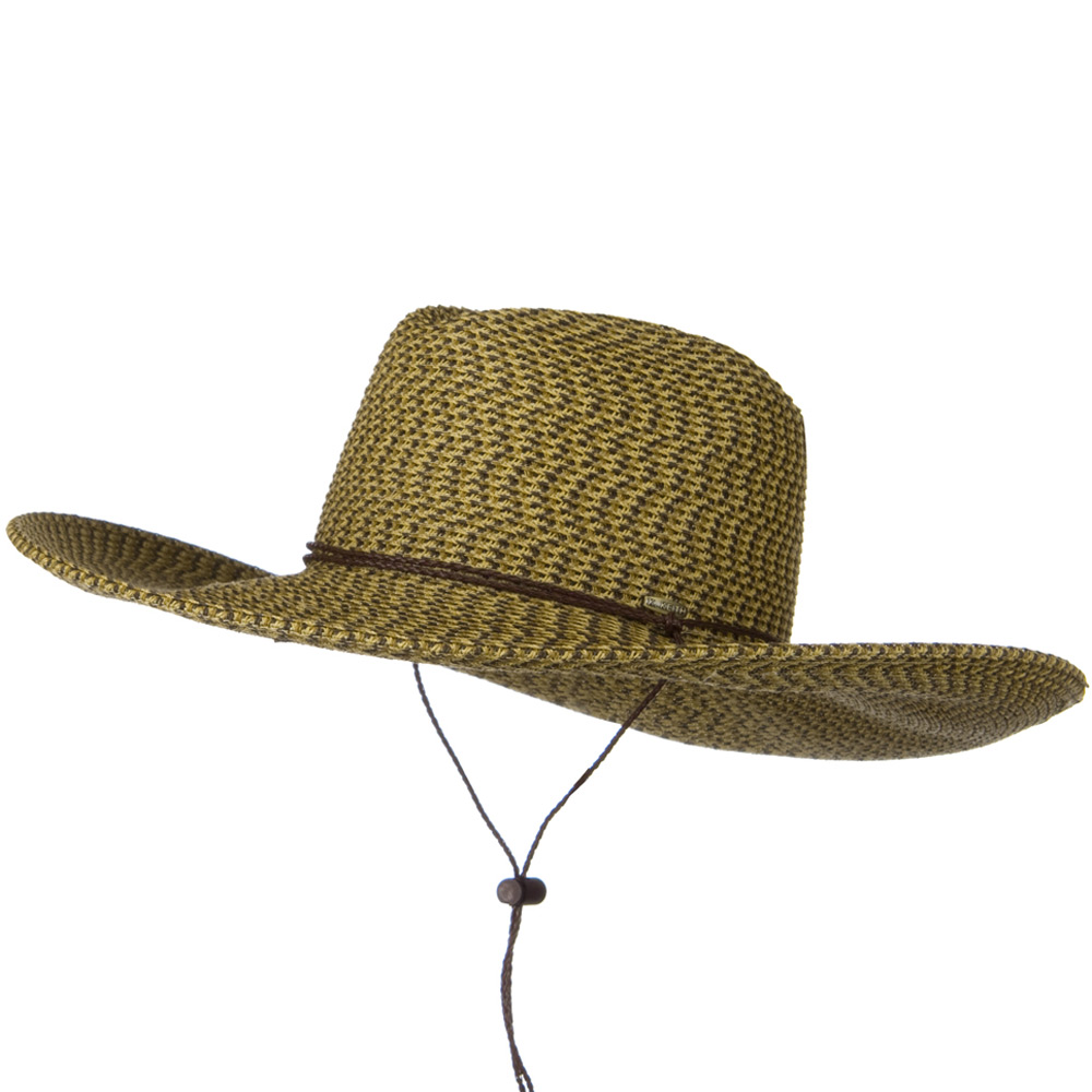 Faux Leather Tie UPF 50+ Safari Paper Braid 5 Inch Brim Hat - Brown Tweed - Hats and Caps Online Shop - Hip Head Gear