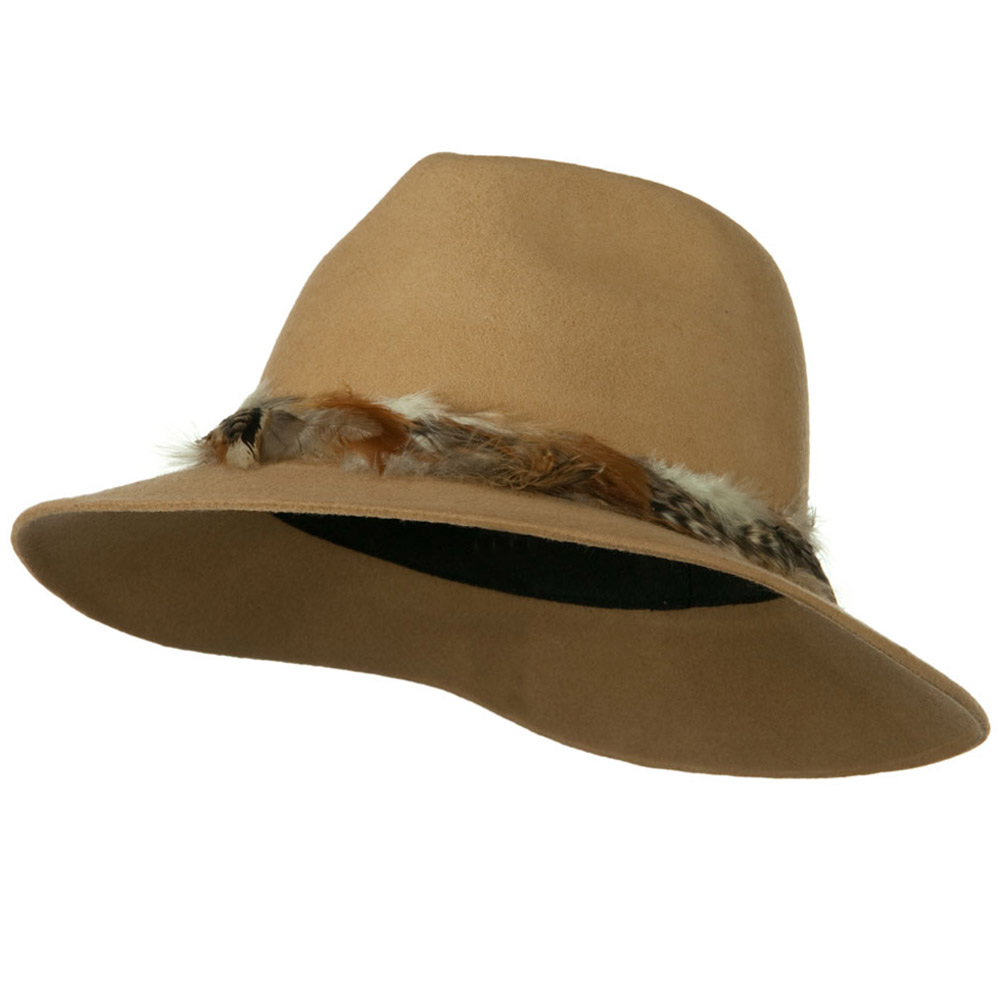 Fedora Hat with Feather Trim - Camel - Hats and Caps Online Shop - Hip Head Gear