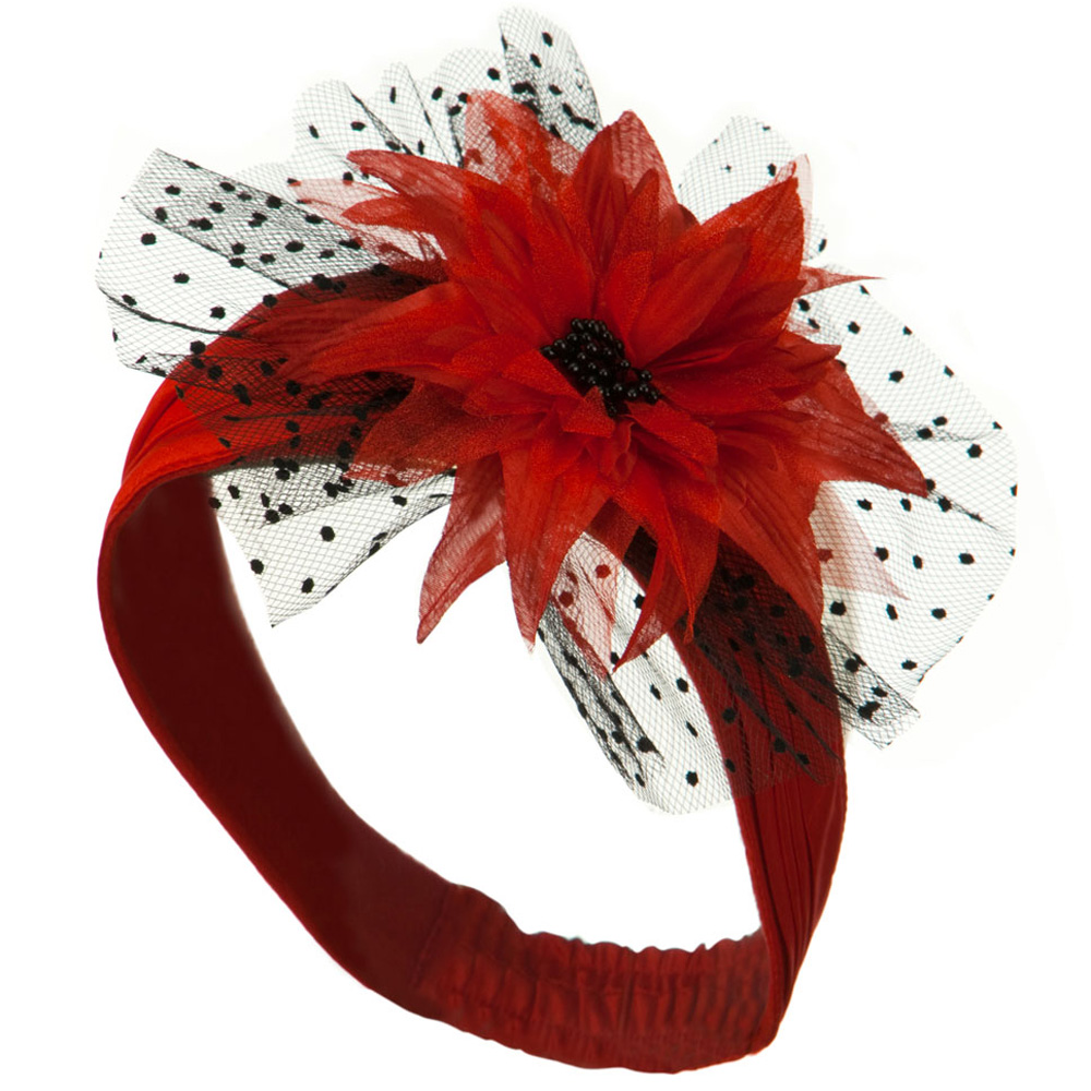 Heandband with Tulle and Flower Trim - Red - Hats and Caps Online Shop - Hip Head Gear