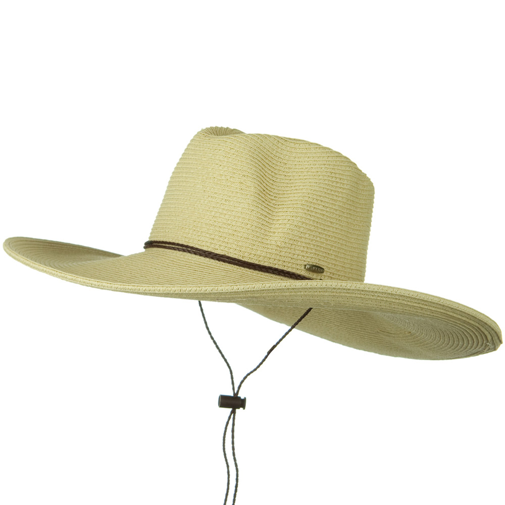 Faux Leather Tie UPF 50+ Safari Paper Braid 5 Inch Brim Hat - Natural - Hats and Caps Online Shop - Hip Head Gear