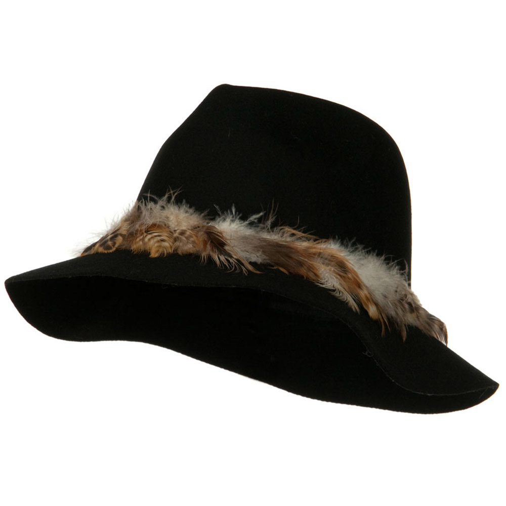 Fedora Hat with Feather Trim - Black - Hats and Caps Online Shop - Hip Head Gear