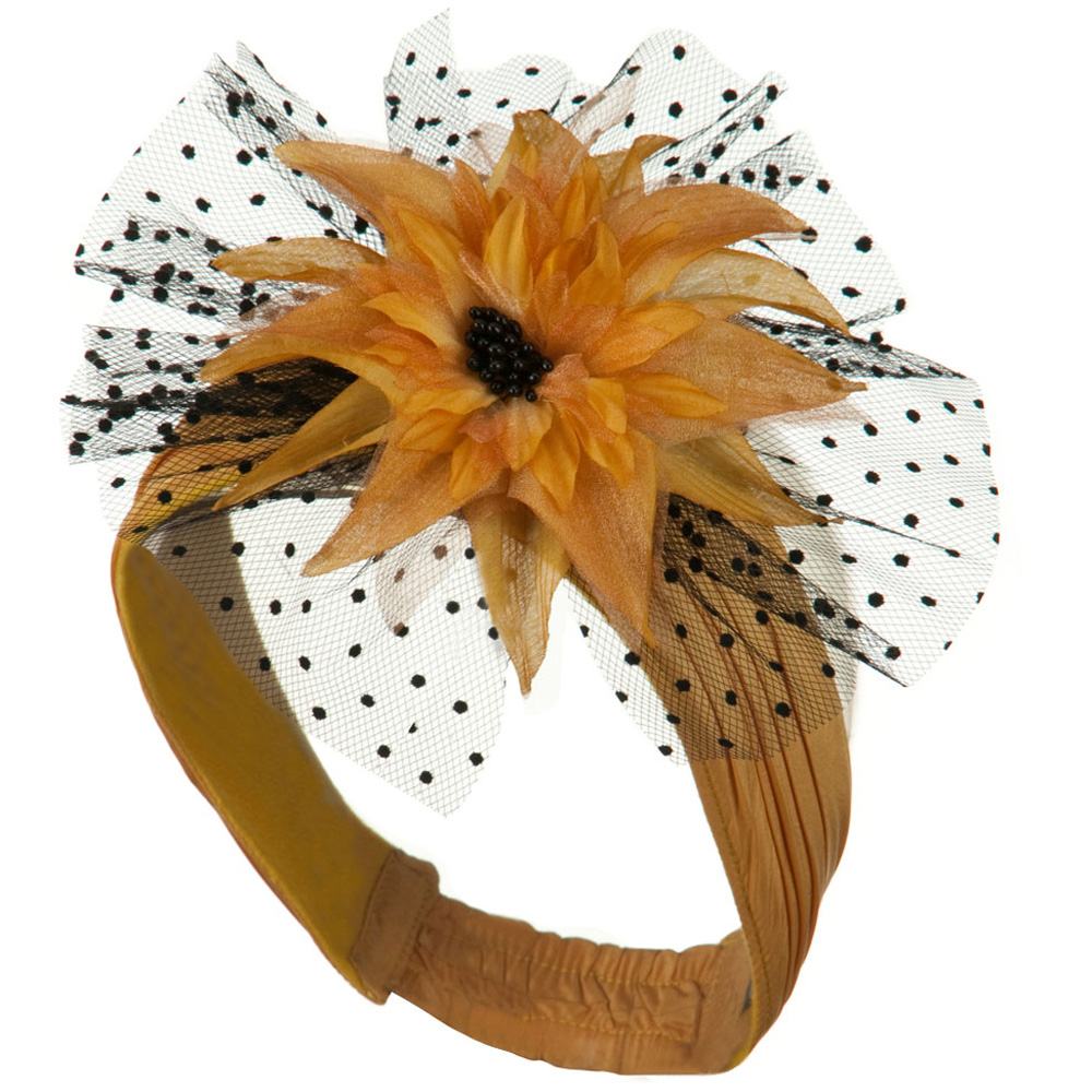 Heandband with Tulle and Flower Trim - Mustard - Hats and Caps Online Shop - Hip Head Gear
