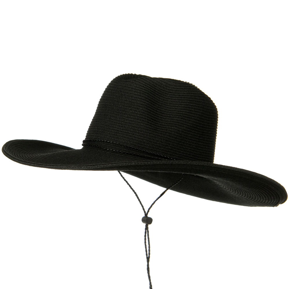 Faux Leather Tie UPF 50+ Safari Paper Braid 5 Inch Brim Hat - Black - Hats and Caps Online Shop - Hip Head Gear