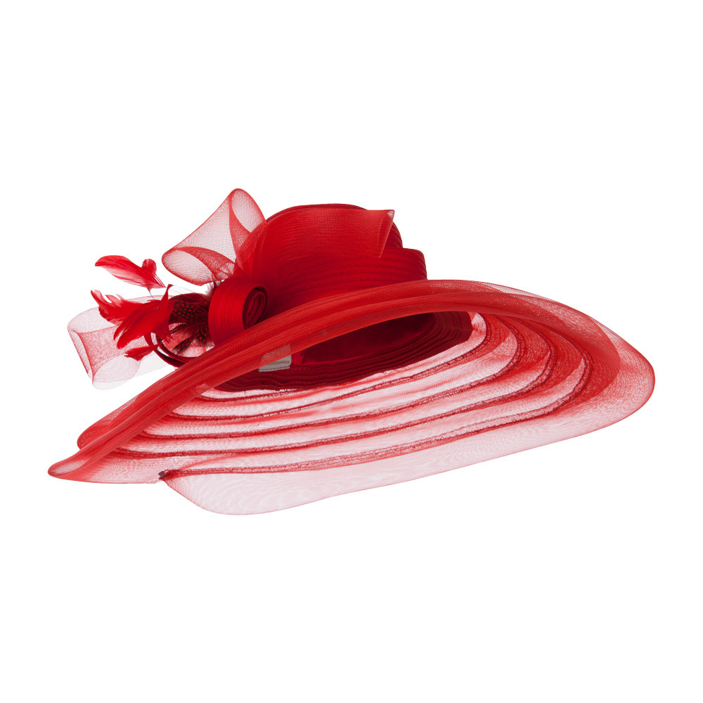 Taffeta Braid Horse Hair Organza Hat - Red - Hats and Caps Online Shop - Hip Head Gear