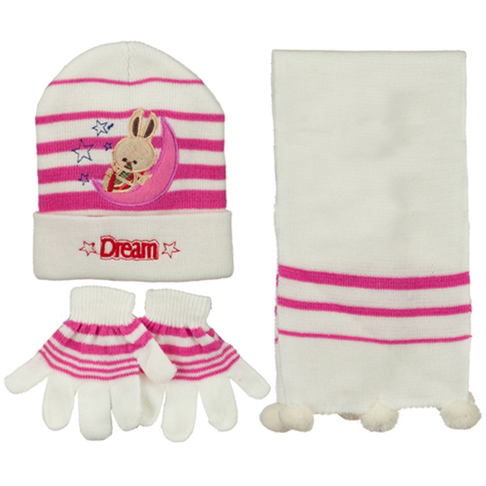Toddler Dream Knit Hat Gloves and Scarf Set - White