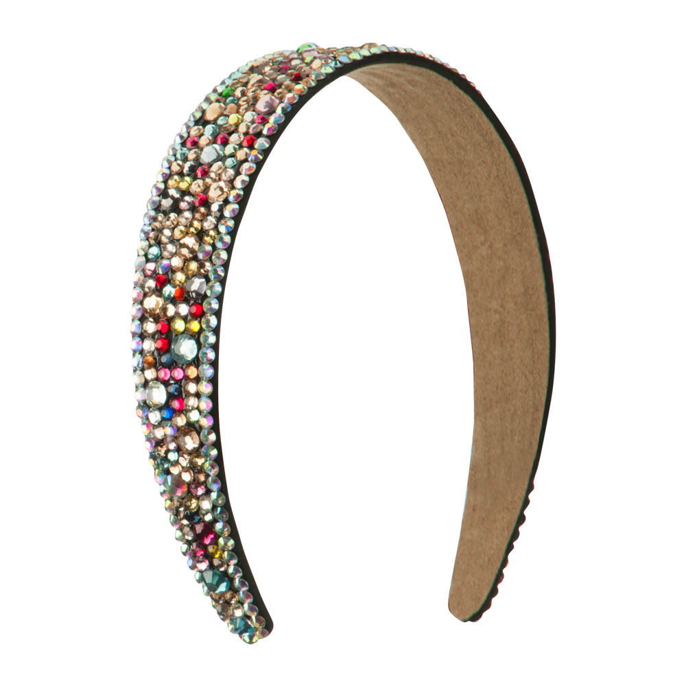 Multi Color Rhinestone Thick Headband - Black - Hats and Caps Online Shop - Hip Head Gear