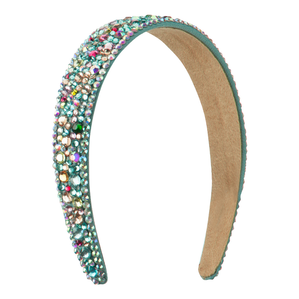 Multi Color Rhinestone Thick Headband - Turquoise - Hats and Caps Online Shop - Hip Head Gear