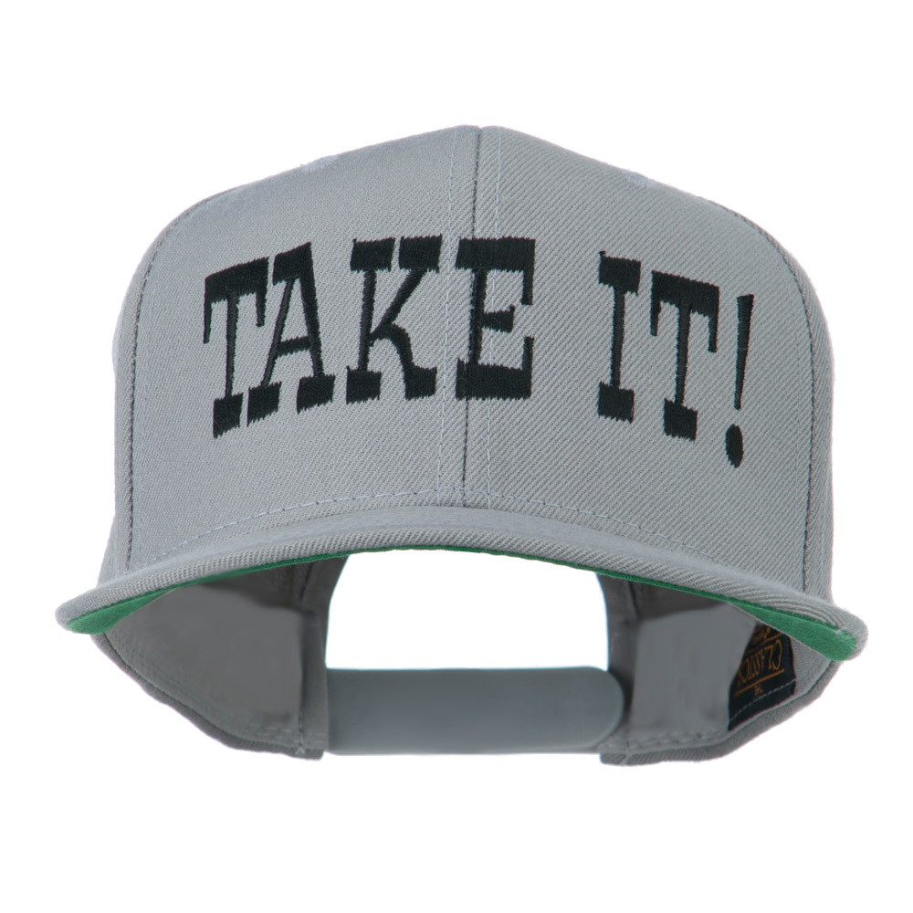 Take It Embroidered Flat Bill Cap - Silver - Hats and Caps Online Shop - Hip Head Gear
