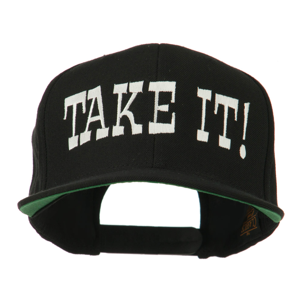Take It Embroidered Flat Bill Cap - Black - Hats and Caps Online Shop - Hip Head Gear