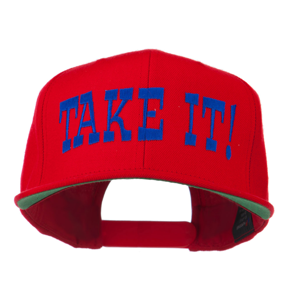 Take It Embroidered Flat Bill Cap - Red - Hats and Caps Online Shop - Hip Head Gear