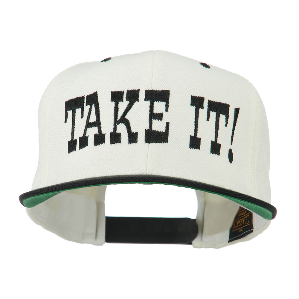 Take It Embroidered Flat Bill Cap - Natural Black - Hats and Caps Online Shop - Hip Head Gear