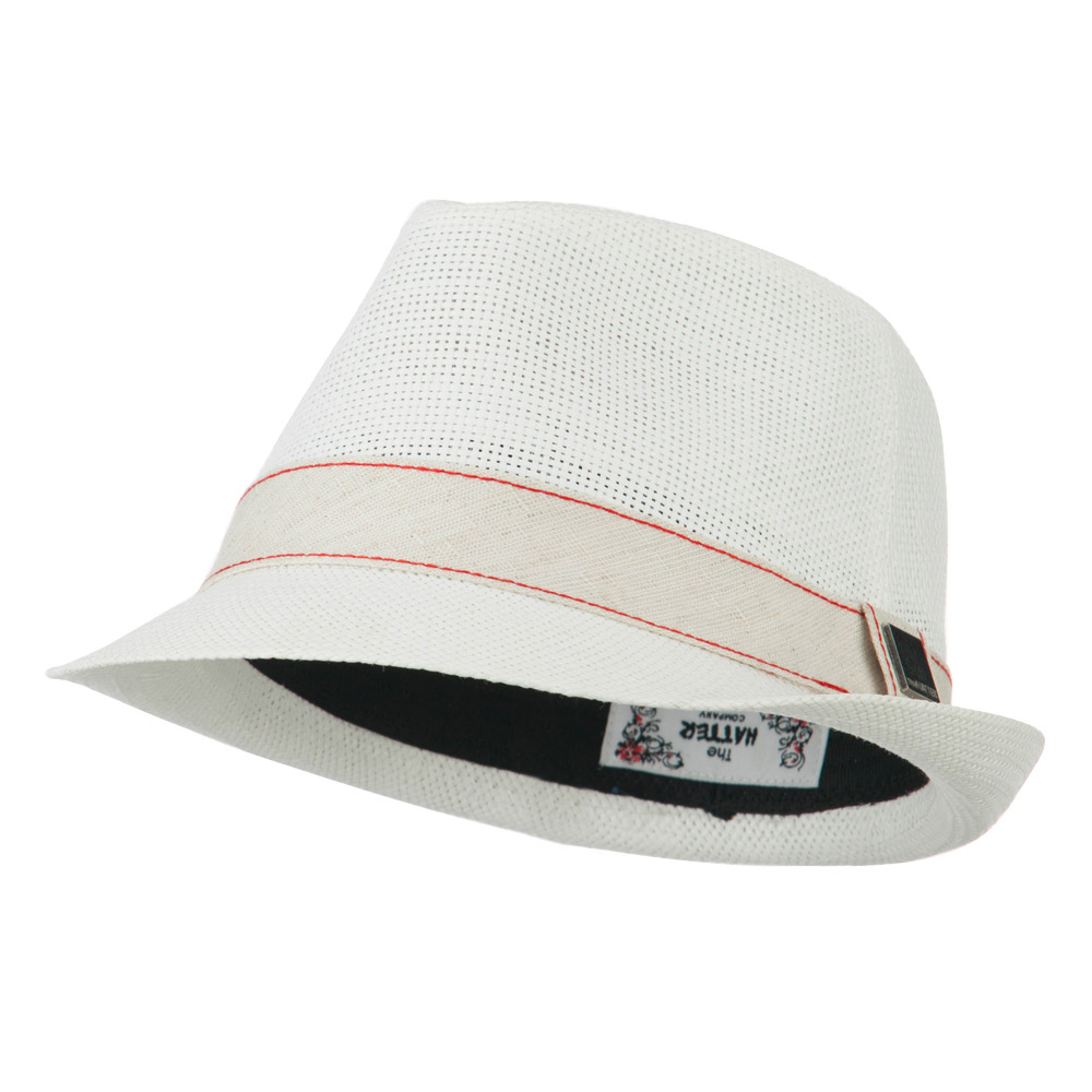 Jute Band Fedora - White - Hats and Caps Online Shop - Hip Head Gear