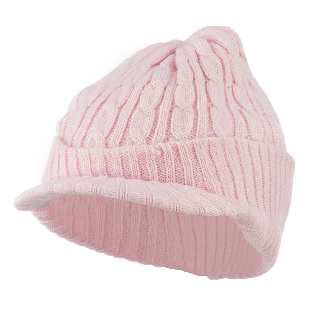 Twist Knitted Cuff Beanie with Visor - Pink - Hats and Caps Online Shop - Hip Head Gear