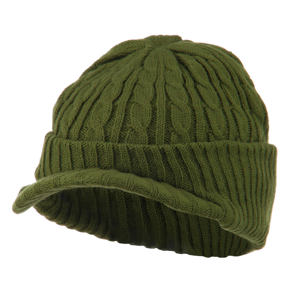 Twist Knitted Cuff Beanie with Visor - Olive - Hats and Caps Online Shop - Hip Head Gear