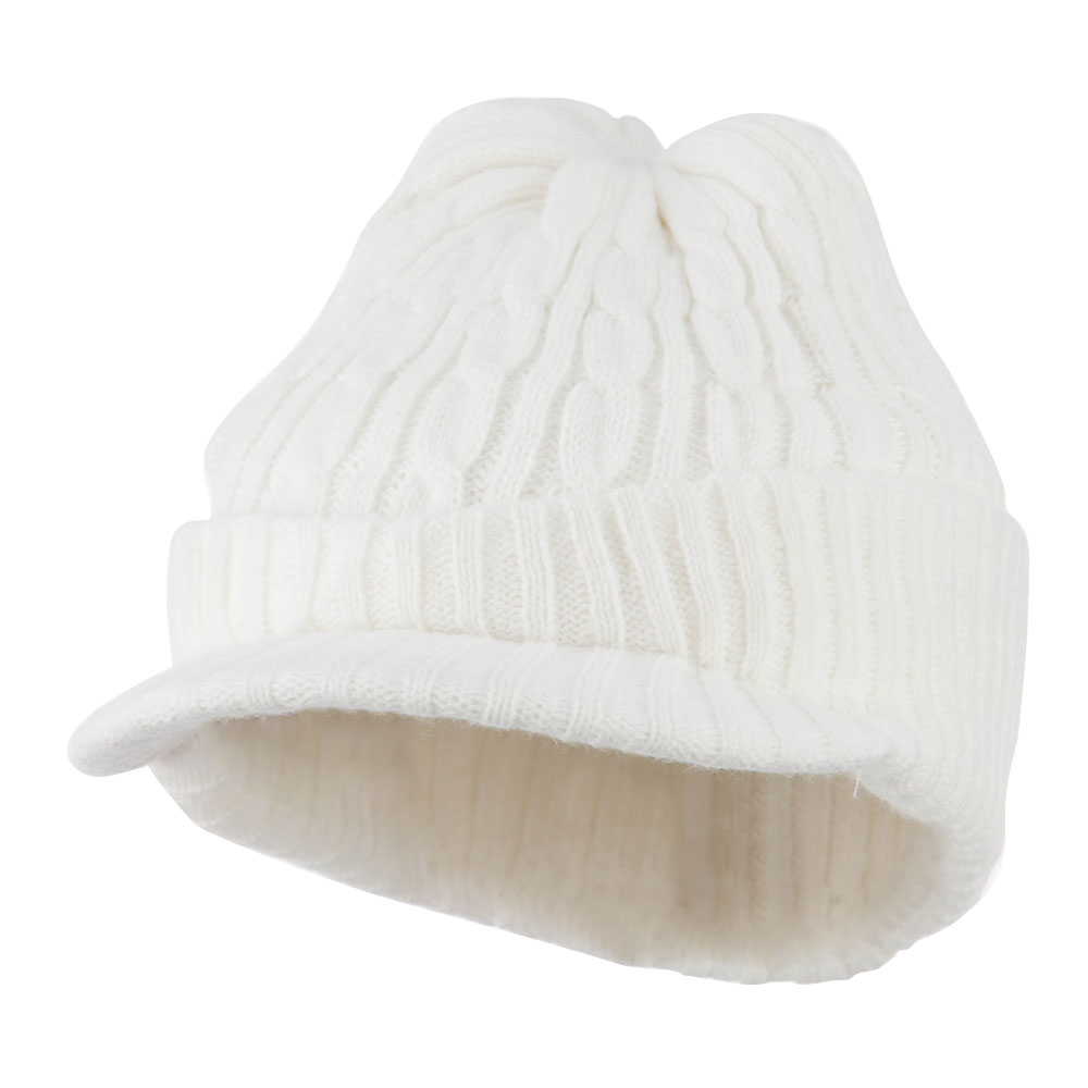 Twist Knitted Cuff Beanie with Visor - White - Hats and Caps Online Shop - Hip Head Gear