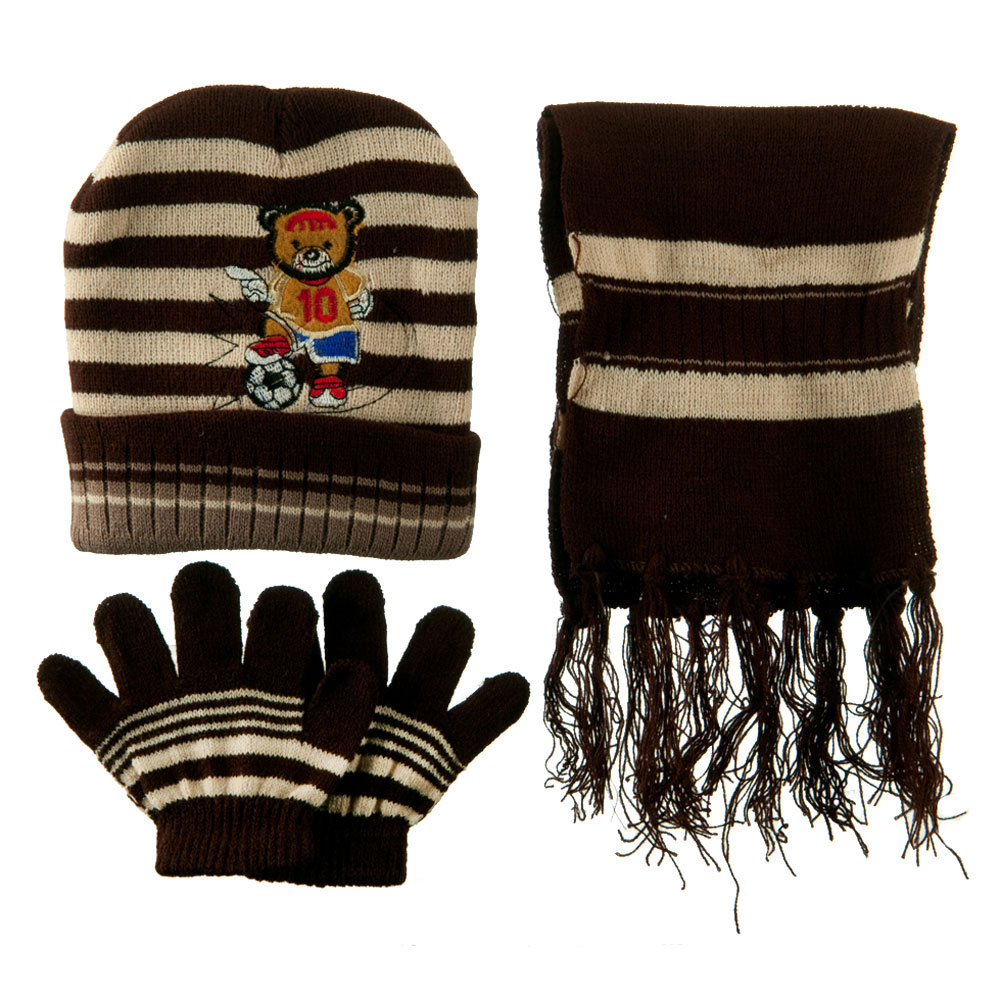 Toddler Soccer Knit Hat Gloves and Scarf Set - Brown Khaki - Hats and Caps Online Shop - Hip Head Gear