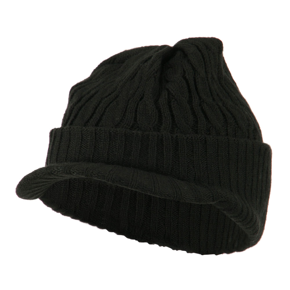 Twist Knitted Cuff Beanie with Visor - Black - Hats and Caps Online Shop - Hip Head Gear