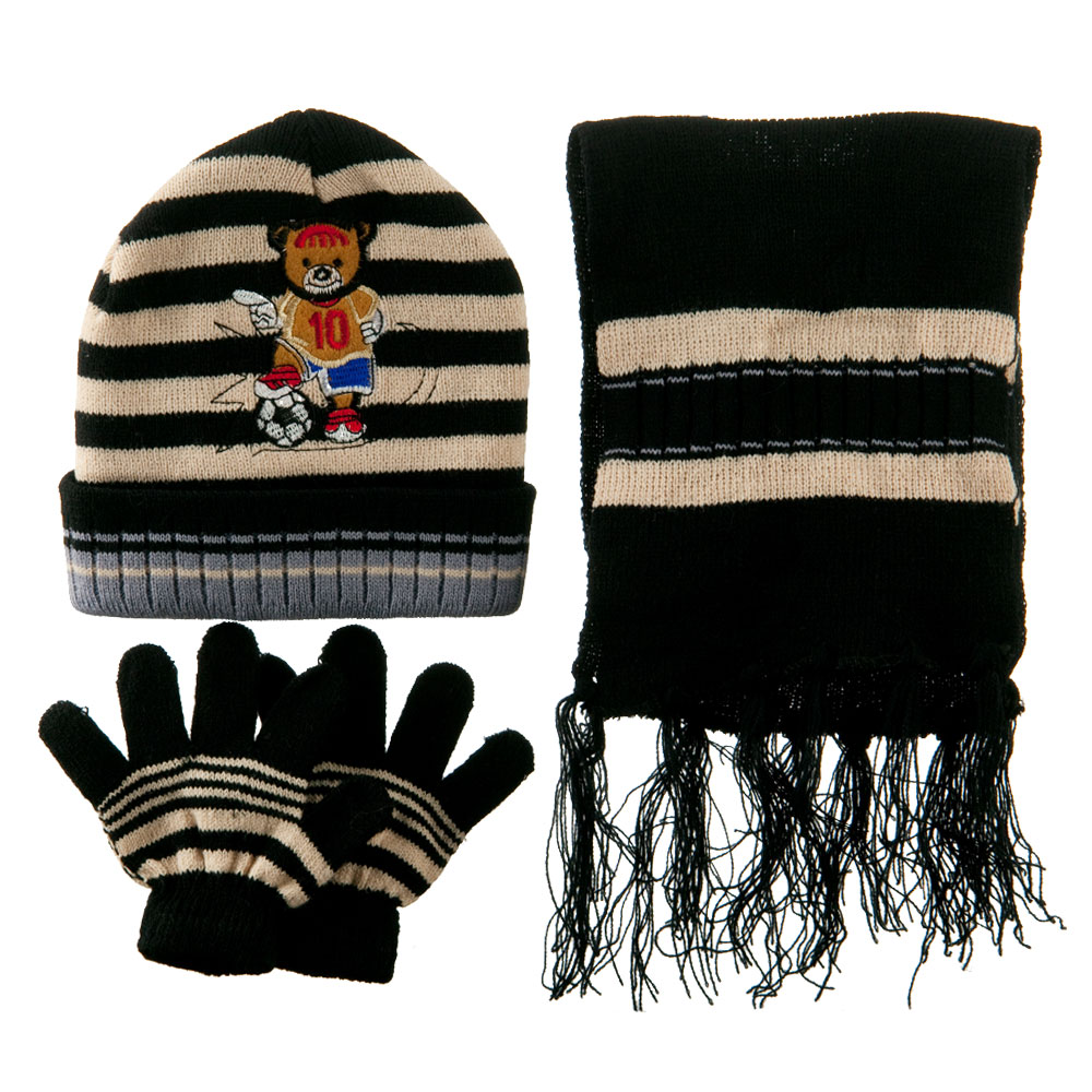 Toddler Soccer Knit Hat Gloves and Scarf Set - Black Khaki - Hats and Caps Online Shop - Hip Head Gear