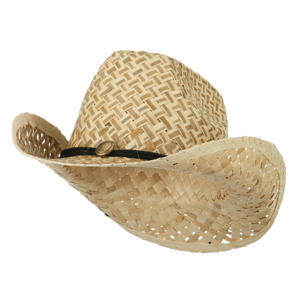 Two Tone Natural Straw Cowboy Hat with String Band - Natural - Hats and Caps Online Shop - Hip Head Gear