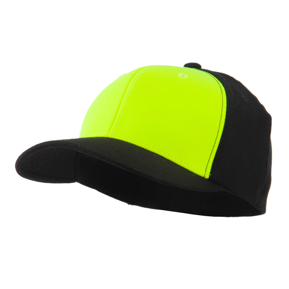 2 Tone Neon Flat Bill Flex Caps - Green