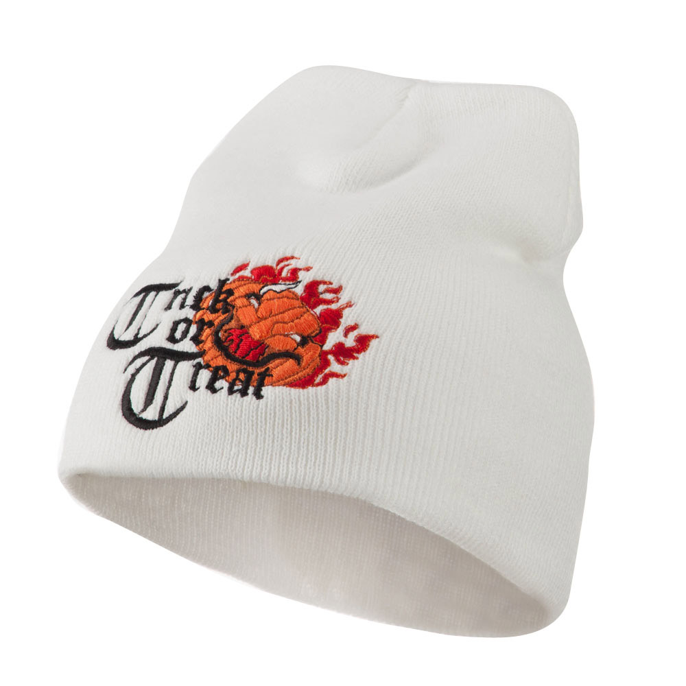 Trick or Treat Jack o Lantern Embroidered Short Beanie - White - Hats and Caps Online Shop - Hip Head Gear