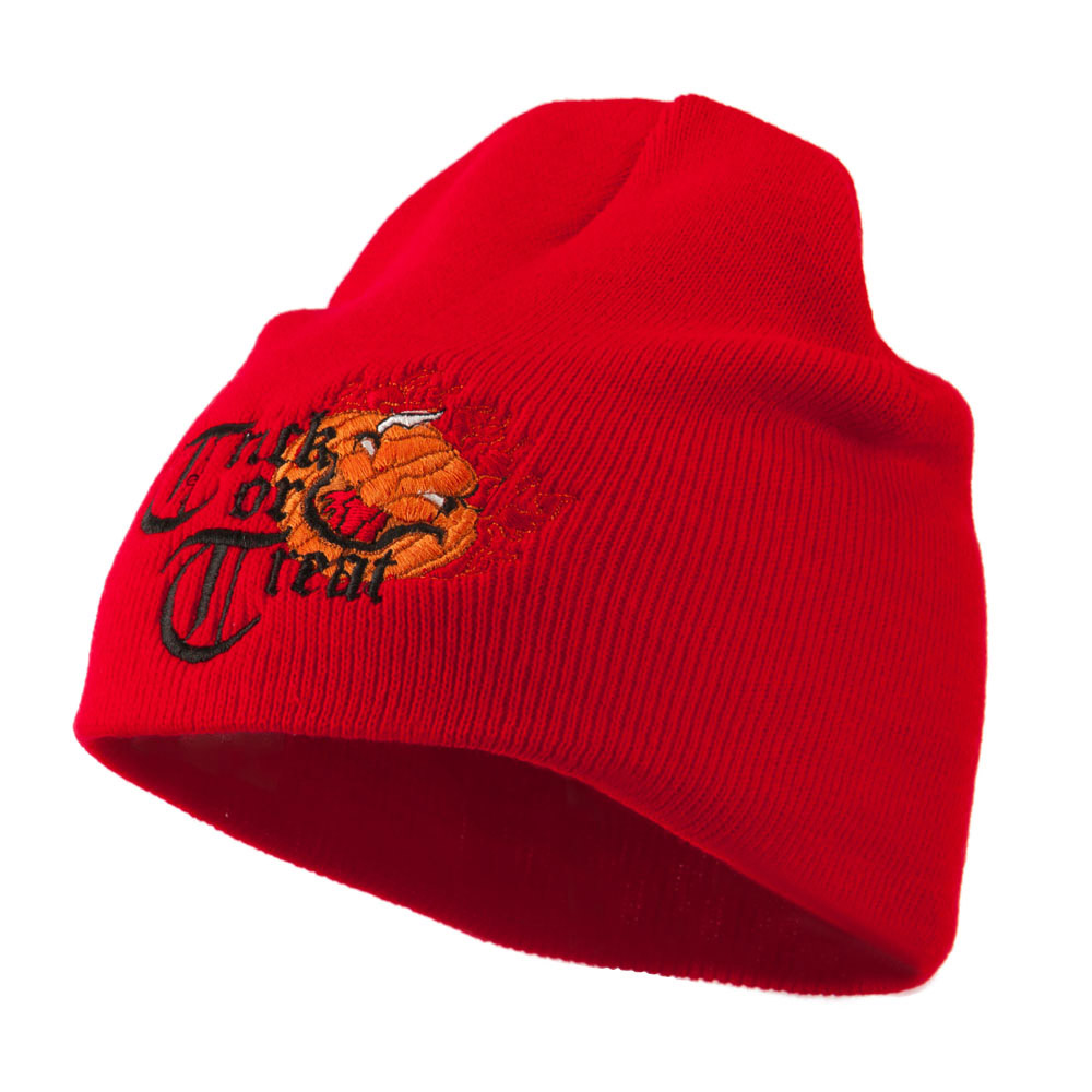 Trick or Treat Jack o Lantern Embroidered Short Beanie - Red - Hats and Caps Online Shop - Hip Head Gear