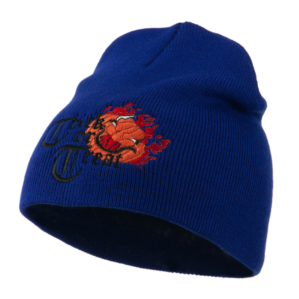 Trick or Treat Jack o Lantern Embroidered Short Beanie - Royal - Hats and Caps Online Shop - Hip Head Gear