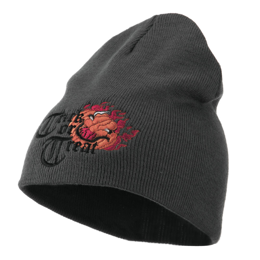 Trick or Treat Jack o Lantern Embroidered Short Beanie - Grey - Hats and Caps Online Shop - Hip Head Gear