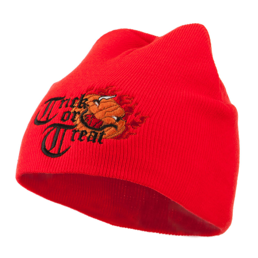 Trick or Treat Jack o Lantern Embroidered Short Beanie - Orange - Hats and Caps Online Shop - Hip Head Gear