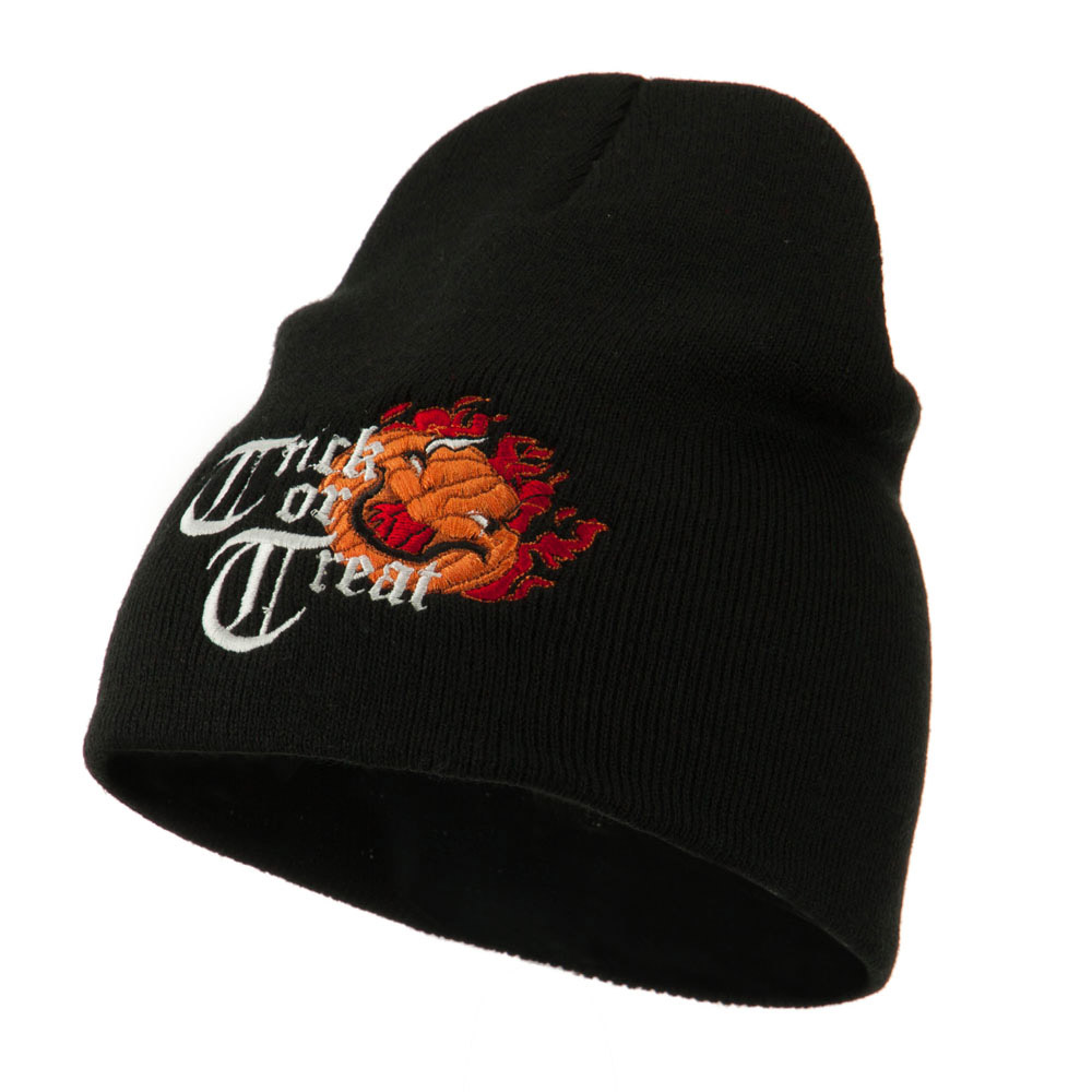 Trick or Treat Jack o Lantern Embroidered Short Beanie - Black - Hats and Caps Online Shop - Hip Head Gear