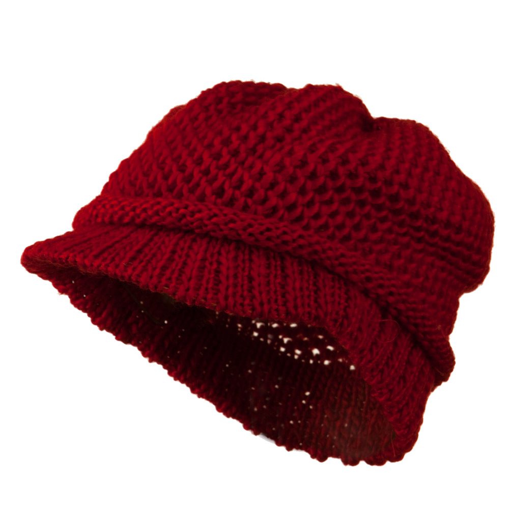 Thick Weave Plain Knit Visor Hat - Red - Hats and Caps Online Shop - Hip Head Gear