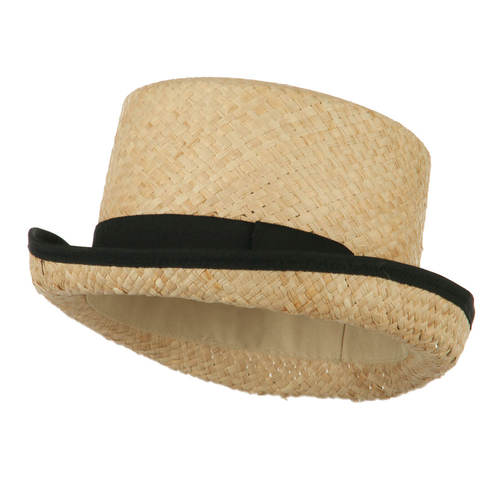 Raffia Straw Top Hat Fedora - Black - Hats and Caps Online Shop - Hip Head Gear