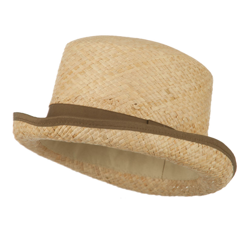 Raffia Straw Top Hat Fedora - Brown - Hats and Caps Online Shop - Hip Head Gear