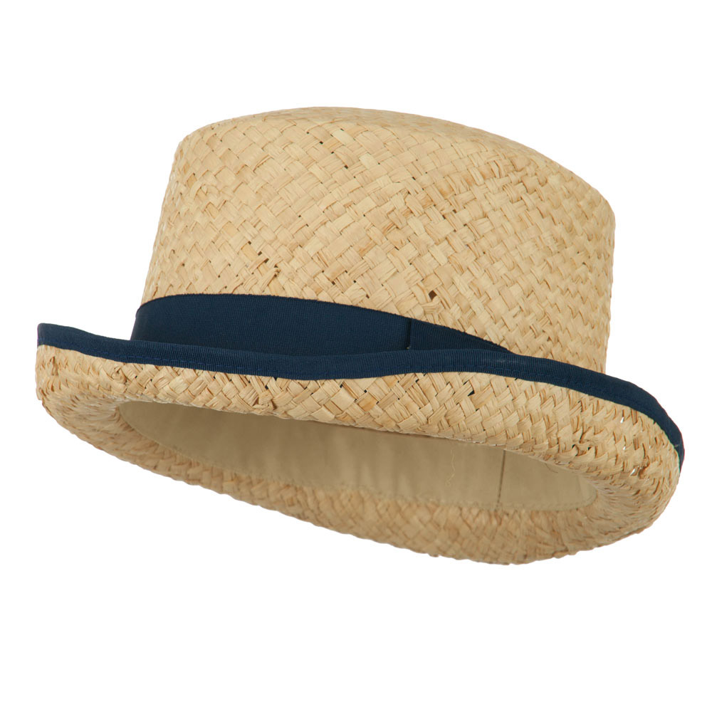 Raffia Straw Top Hat Fedora - Navy - Hats and Caps Online Shop - Hip Head Gear