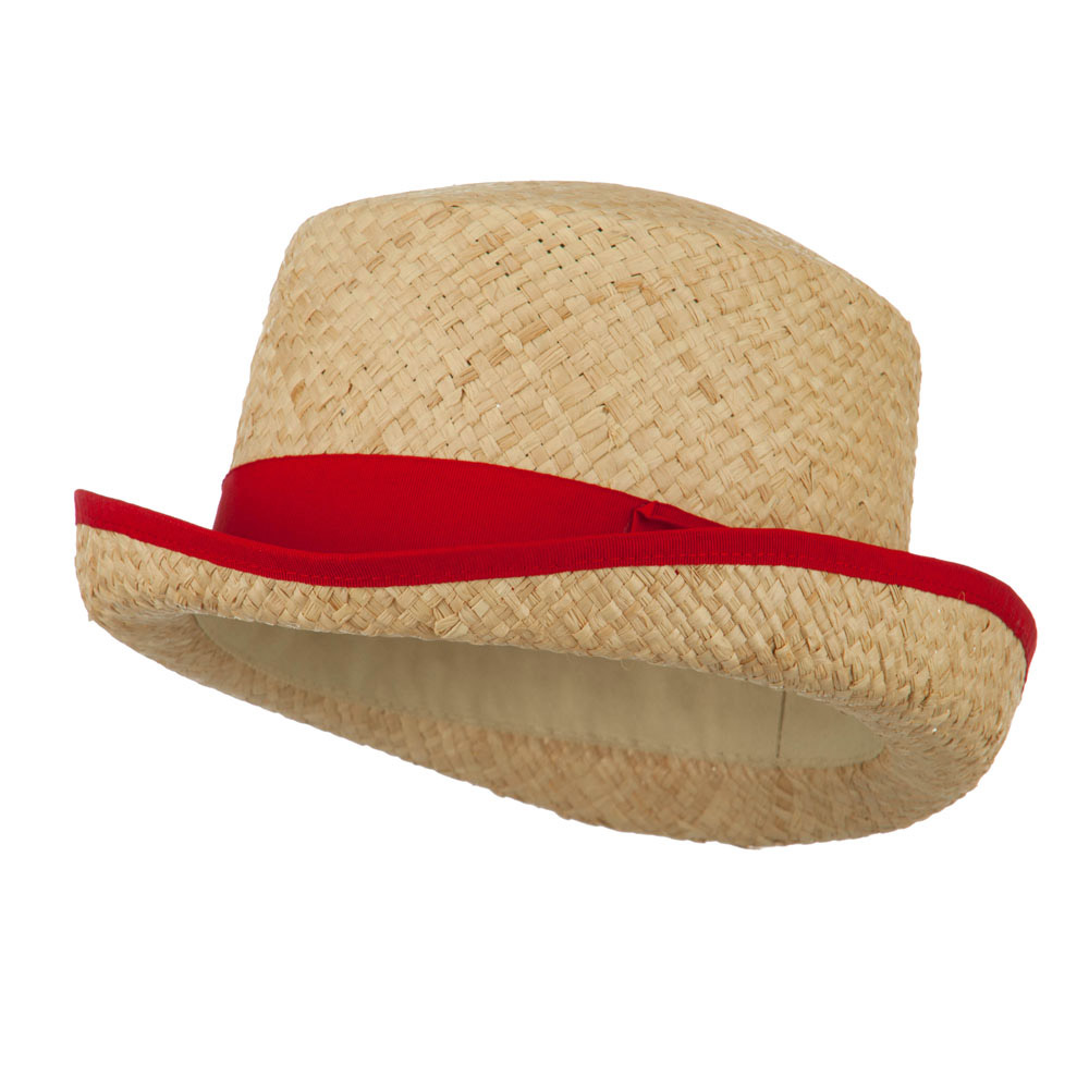 Raffia Straw Top Hat Fedora - Red - Hats and Caps Online Shop - Hip Head Gear