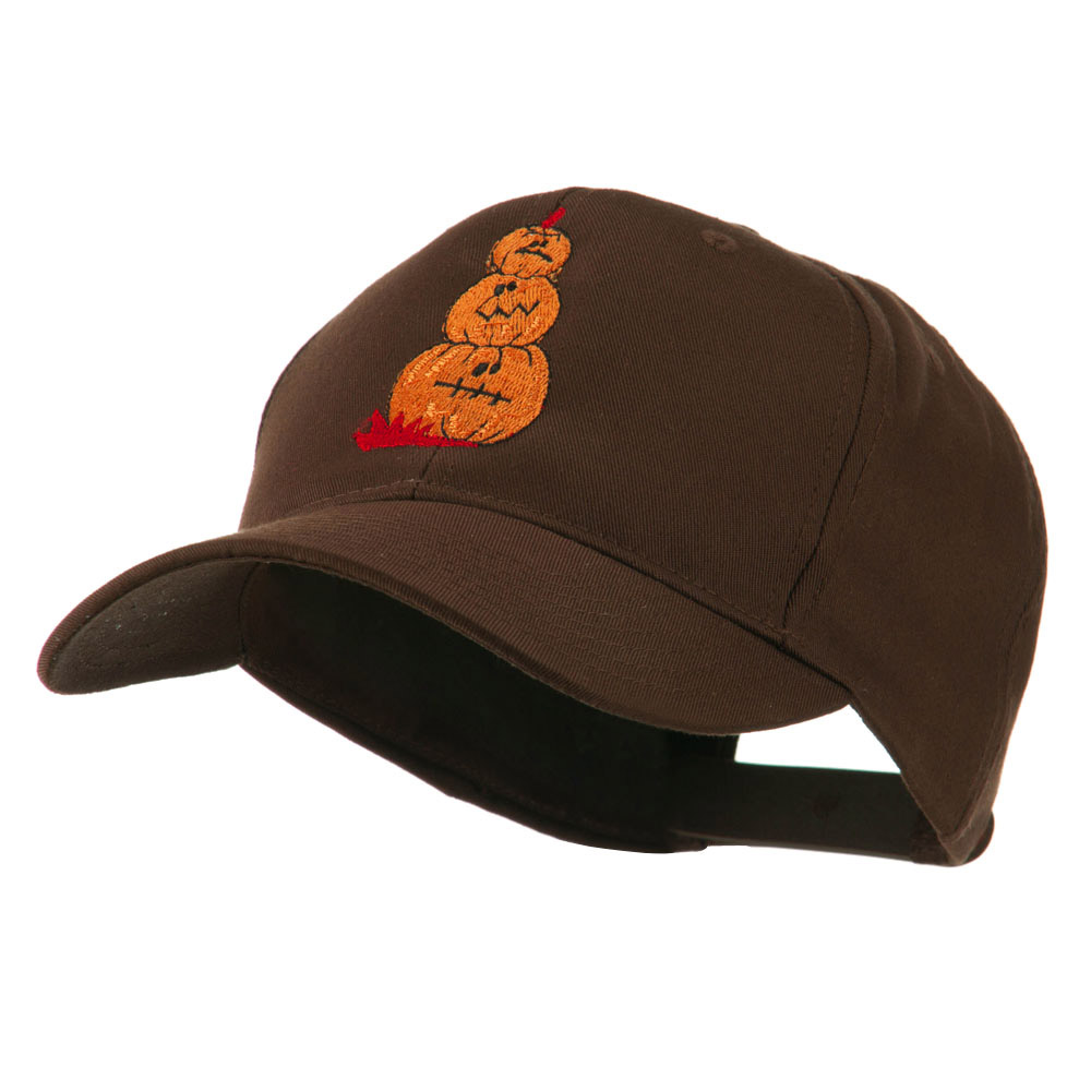 Three Pumpkins with Funny Smile Embroidered Cap - Brown - Hats and Caps Online Shop - Hip Head Gear