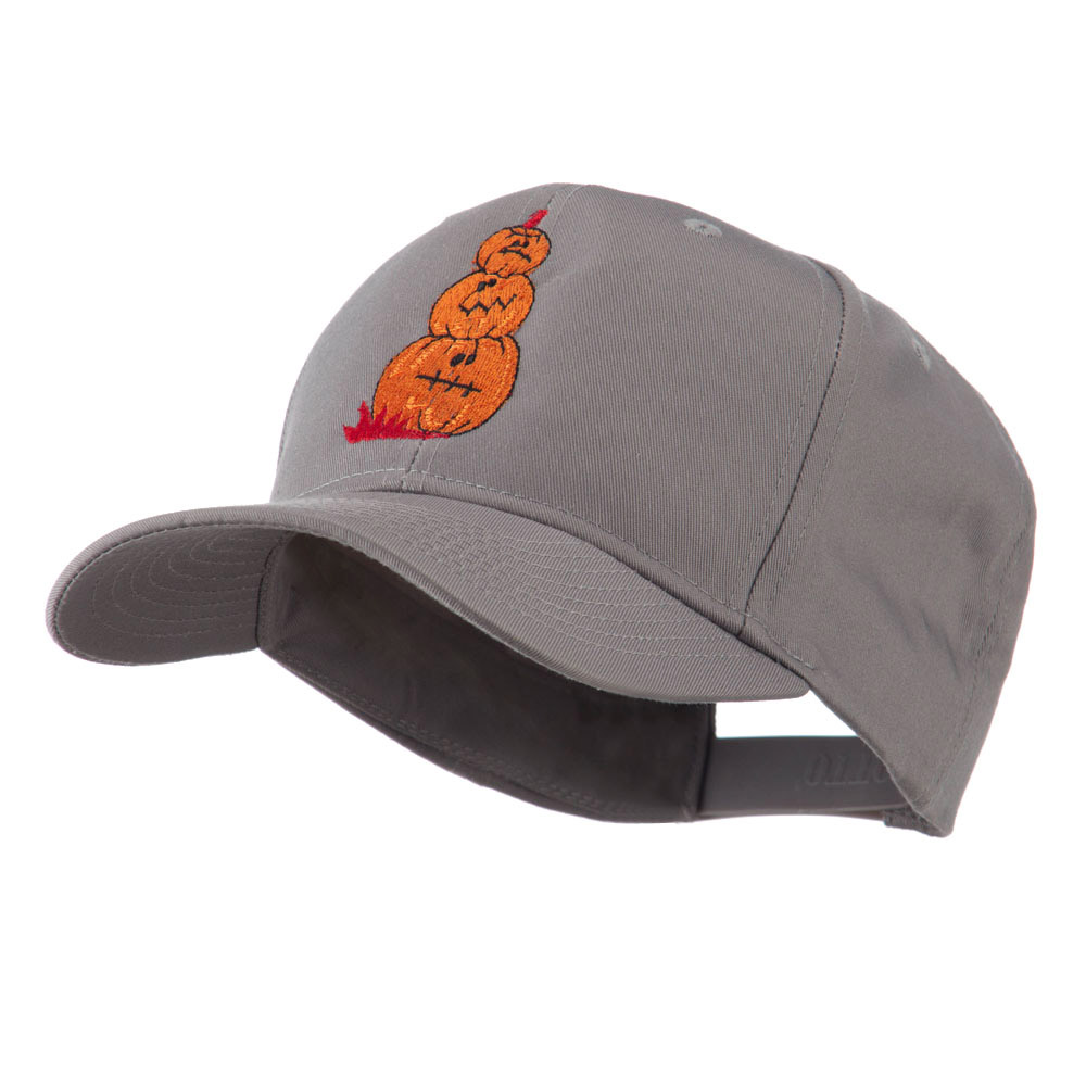 Three Pumpkins with Funny Smile Embroidered Cap - Grey - Hats and Caps Online Shop - Hip Head Gear