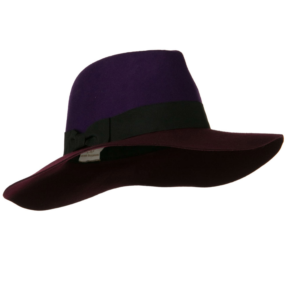 Wool Felt Two Tone Fedora Hat with Solid Ribbon Band - Purple Burgundy - Hats and Caps Online Shop - Hip Head Gear