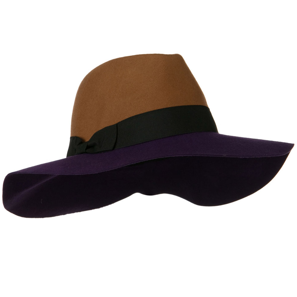Wool Felt Two Tone Fedora Hat with Solid Ribbon Band - Camel Purple - Hats and Caps Online Shop - Hip Head Gear