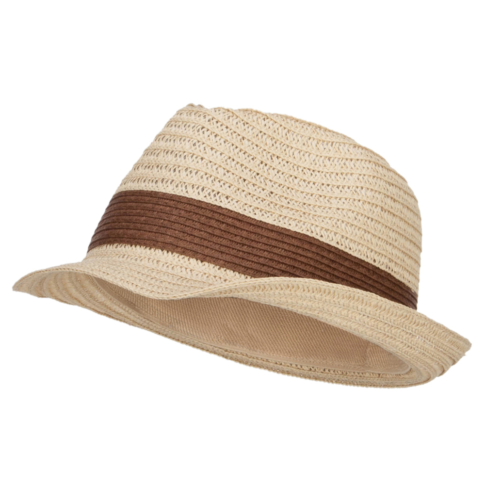 Women's Toyo Braid Fedora Hat - Natural Brown