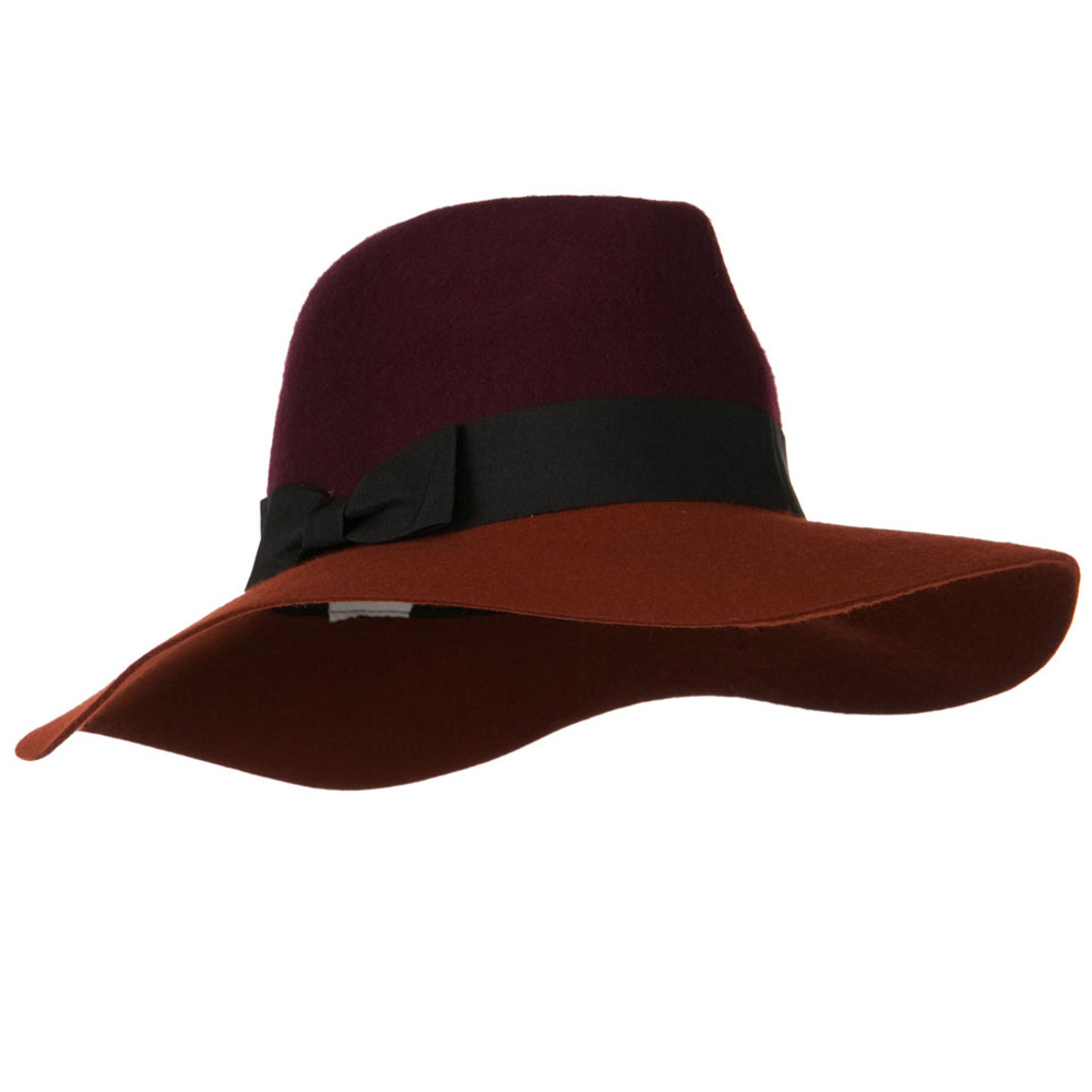 Wool Felt Two Tone Fedora Hat with Solid Ribbon Band - Burgundy Rust - Hats and Caps Online Shop - Hip Head Gear