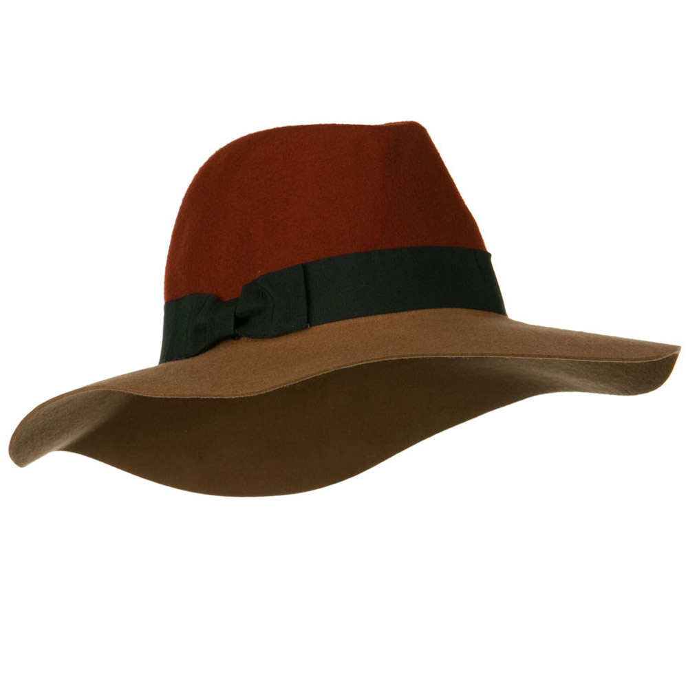 Wool Felt Two Tone Fedora Hat with Solid Ribbon Band - Rust Camel - Hats and Caps Online Shop - Hip Head Gear