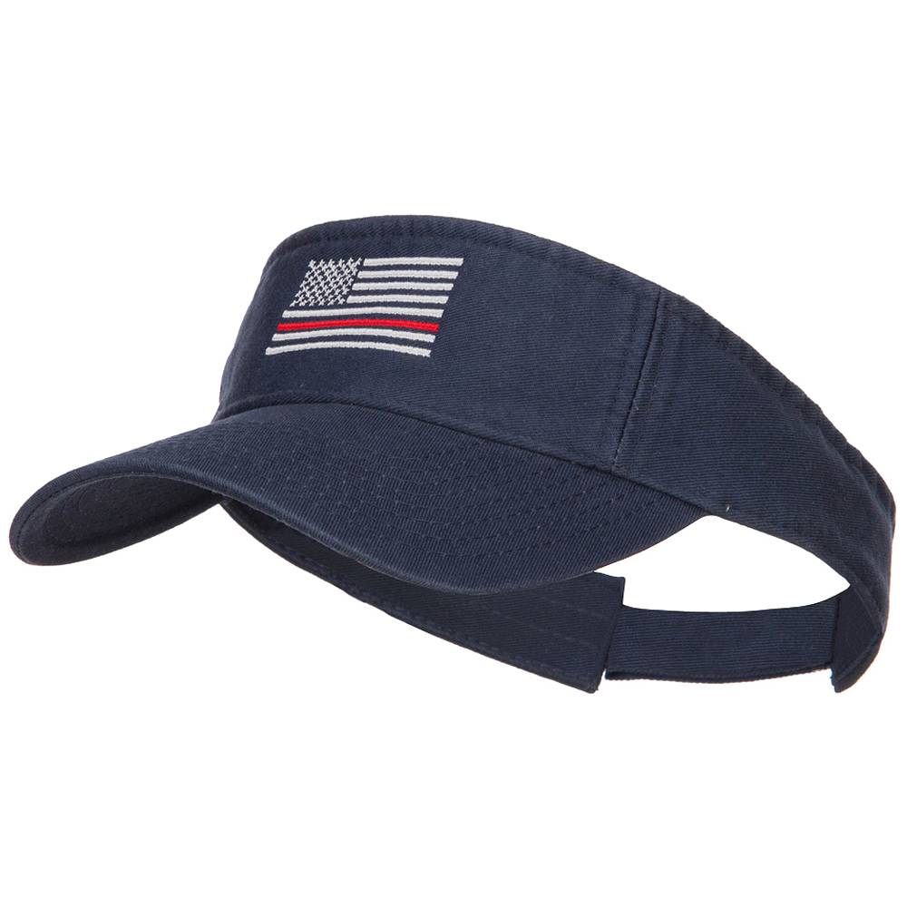 Thin Red Line American Flag Embroidered Washed Visor - Navy