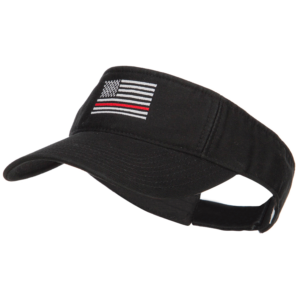 Thin Red Line American Flag Embroidered Washed Visor - Black