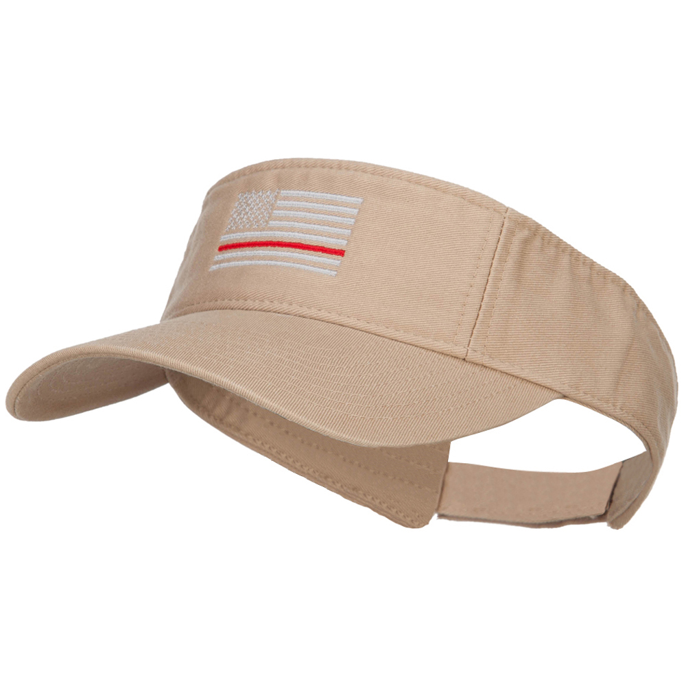 Thin Red Line American Flag Embroidered Washed Visor - Khaki